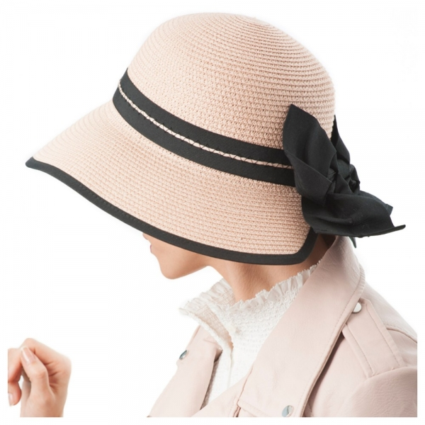 chapeau femme rose poudre
